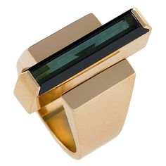 Georg Jensen Wendel Danish Modernist Tourmaline Gold Ring. A Danish Modernist 18 karat gold ring centering on a 4.30 carat green tourmaline by George Jensen & Wendel. The strong architectural motif of the ring is typical of Jensen's aesthetic of mid-century design. Circa 1960's.