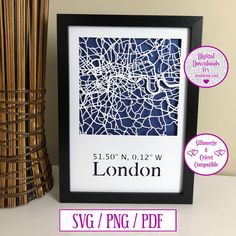 London Map Paper Cut Digital Download and Decal by JumbleinkDesign on Etsy London Map, City Maps, Handmade Items, Handmade Gifts, Paper Cutting, Decal, Digital, Frame, Etsy