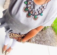Gray peplum top, white jeans, BaubleBar necklace