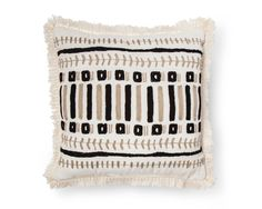 Add a natural element to your decor with the Black & Tan Embroidered Pillow from Xhilaration™. With neutral coloring, a simple pattern and a fringed edge for a dash of personality, this throw pillow is the perfect accent to your living room or bedroom. Boho Throw Pillows, Black Pillows, Modern Cushions, Square Faces, Vintage Couture, Comforter Sets, Color Splash, Embroidery Designs, Decorative Pillows