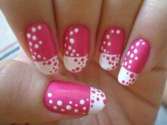 Pink and white polka French tip short rounded acrylic nails