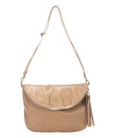 Look at this #zulilyfind! Taupe Zip Pebbled Leather Crossbody Bag #zulilyfinds