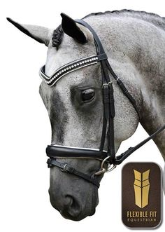 Grey Horse Black White English Dressage Bridle Bling