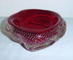 Fabulous ARCHIMEDE SEGUSO Vintage MURANO Rich RUBY RED w/ BUBBLES Art Glass BOWL