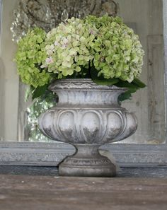 Hydrangeas in any color are beautiful, but I am particular to the green ones...