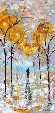 Original Oil Winter Romance Landscape palette knife painting by Karensfineart