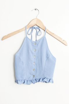 """Details Size Shipping • 90% Rayon 10% Polyester • Button up frill hem halter top • Hand Wash • Line dry • Imported • Measured from small • Length 12"""" • Chest 15"""