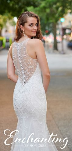 Enchanting by Mon Cheri 120165 Beaded Lace, Embroidered Lace, Bridal Gowns, Wedding Dresses, A Line Gown, Illusion Neckline, Chapel Train, Horse Hair, Scalloped Lace
