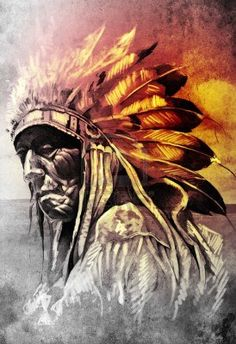 Sketch of tattoo art, indian head over artistic background Stock Photo