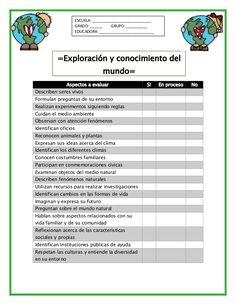 Lista de cotejo de preescolar