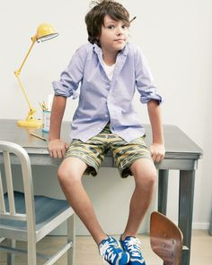 MAY Style Guide: J.Crew boys' shirt in secret wash garment-dyed, Jed & Marne Bohemian short and New Balance for Crewcuts lace-up sneaker in royal blue. Little Boy Fashion, Kids Fashion Boy, Teen Fashion, Young Cute Boys, Cute Teenage Boys, Nice Boys, Trendy Boy Outfits, Summer Outfits, Teen Boy Photography