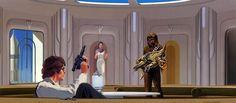 Ralph McQuarrie - Star Wars - TESB: This Ralph McQuarrie painting shows Han Solo...