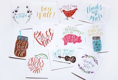 Any five cards of your choosing! Just leave the five you would like in the notes field at checkout.  -All cards are produced from my original hand