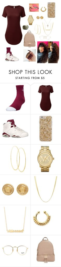 """""""Birthday Fit"""" by dillyntroywifeyyyy ❤ liked on Polyvore featuring Jordan Brand, Case-Mate, Lana, Michael Kors, Versace, Jennifer Zeuner, Ray-Ban and MICHAEL Michael Kors"""