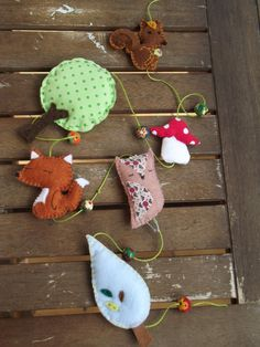 Felt+garland+animals+oh+the+woods+hand+made+and+by+LePandaRoux,+€28.00