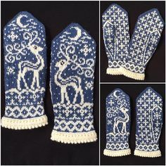 Knitting Patterns Ravelry Ravelry: Midvinter (Mid Winter) pattern by JennyPenny Knitted Mittens Pattern, Fair Isle Knitting Patterns, Knit Mittens, Knitting Charts, Knitted Gloves, Knitting Socks, Hand Knitting, Norwegian Knitting, Yarn Crafts