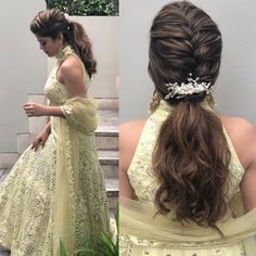 Bride Bineey on her mehendi function ♥️ Pony Hairstyles, Bride Hairstyles, Hairstyles Videos, Engagement Hairstyles, Indian Wedding Hairstyles, Medium Hair Styles, Curly Hair Styles, Bridal Hairdo, Hair Videos