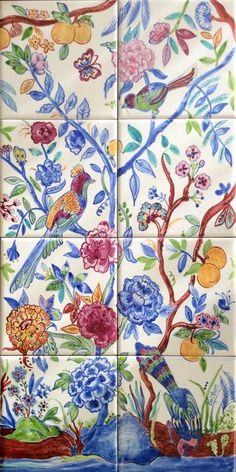 Azulejos Portugueses - Chinoiserie - Colorido Tile Murals, Tile Art, Mosaic Tiles, Cement Tiles, Wall Tiles, Chinoiserie, Ceramic Painting, Ceramic Art, Ceramic Pottery