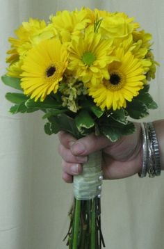 All Yellow Bridesmaid Bouquet