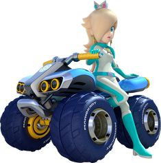 Rosalina on an ATV with monster truck wheels, profile artwork from Mario Kart 8