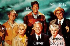 """Cast of the 60's comedy show """"Green Acres"""" (65-71) - A New York attorney and his wife try to live as genteel farmers in the bizarre community of Hooterville."""
