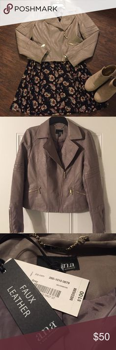"""NWT FAUX LEATHER MOTO JACKET! 😍 Beautiful soft faux fur leather """"moto"""" jacket!  I love this jacket, again my only issue is the length of the sleeves!  I found a better fitting jacket and therefore am selling this one.  I love that you can wear it with dresses, skirts and jeans!  It really is beautiful! 😍 ana Jackets & Coats"""