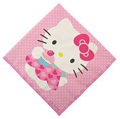 Hello Kitty party napkins in pink with a polkadot pattern background and a deckle edge. Featuring Hello Kitty with a cupcake. Each pack contains 20 napkins Size 6 x 6 folded Hello Kitty Party Supplies, Diy Party Supplies, Party Napkins, Napkins Set, Chat Hello Kitty, Hello Kitty Birthday, Indoor Activities For Kids, Cat Party, Background Patterns