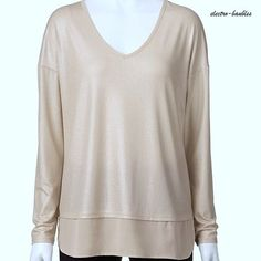 SOLD!!!!!  Dana Buchman Champagne Shimmery Tunic with Semi Sheer Hem - New with Tags! #DanaBuchman #Blouse #Casual