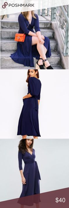 ASOS Navy Crepe Midi Wrap Dress Features stretch crepe jersey, wrap front, v-plunge neck, extreme side split, twin hip pockets. Wrap dress style features a belted waist tie that can be tied in the front or the back. A PERFECT dress for holiday 2017 or wedding season. Originally purchased for my sister-in-law for our wedding in October but never worn. Tags still attached, in original packaging. Fits TTS. Machine wash. Material: 96% Polyester, 4% Elastane. Photos via insta…