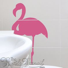 Funky flamingo wall art decals, large and small scale to decorate a Tropical Paradise / Florida themed room! Pick your colors! Vinyl Decor, Vinyl Wall Decals, Flamingo Wallpaper, Bathroom Wall Decor, Window Decals, Beach House Decor, Room Themes, Nautical Theme, Lettering Design