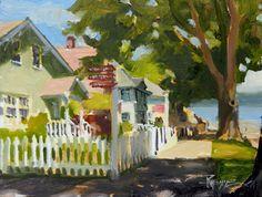 "in plein air: ""Port Gamble Picket Fence"" plein air oil painting by Robin Weiss"