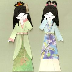 Chinese oriental girl in hanfu paper doll card topper (set of 2)