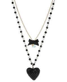 Betsey Johnson Necklace, Gold Tone Black Glitter Heart Two-Row Necklace - Fashion Necklaces - Jewelry & Watches - Macy's