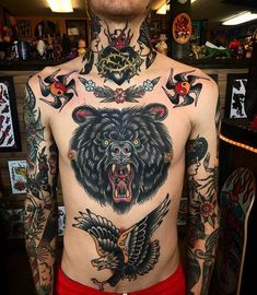 Search inspiration for an Old School tattoo. Bear Tattoos, Old Tattoos, Life Tattoos, Sleeve Tattoos, Tattoos For Guys, Tatoos, Traditional Tattoo Art, Traditional Ink, Tattoo Designs