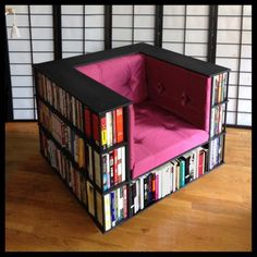 A library-slash-chair. | 25 Ingenious Products That Will Save You So Much Space...Gahhhhh! So awesome.