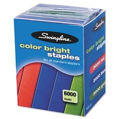 Swingline Products - Swingline - Color Bright Staples, 6000/Pack - Sold As 1 Pack - Brightly colored staples make ordinary tasks fun. - Great for color coding and crafts. - High-quality standard staple offers consistent paper penetration and less jamming.