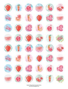 Red Watercolor Fruits Collage Sheet features my original hand drawing. These images are great for magnets, glass tile pendants, jewelry, cards ,bookmarks , gift tags, scrapbooking, or every other personal project you imagine. Colorful Fruits 1 inch sheet contains circle digital bottle caps size images, each measures slightly over 1 for perfect round punch. The size of Red Watercolor Fruits sheet is 11x8.5 (standard US letter size). The sheet fits perfectly on A4. 300 dpi resolution - perfect…