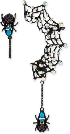 Betsey Johnson Black-Tone Spider Drop Earring and Web Ear Cuff Set