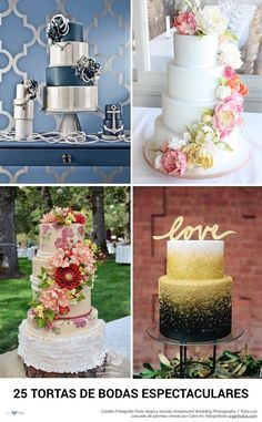 25 tortas de boda espectaculares para deleitar tu vista y tu paladar! No te las pierdas! | Stunning wedding cakes