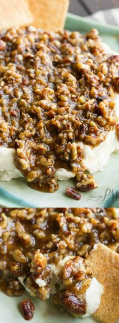 This French Quarter Pecan Cheese Spread from Call Me PMc has the most delicious mix of sweet and savory pecan praline sauce that gets served over dressed up cream cheese.