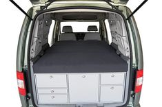 """VanEssa mobilcamping Double Sleep System for Caddy VanEssa Mobile Camping Sleep System for Caddy  Includes Mattress  Works with VanEssa Mobilcamping Caddy Kitchen Pod - sold separately.  """"Mini-van"""" and still enough room for a two-person bed? The height of the sleeping system allows the back seats to be folded under the bed  While you are driving the sleep system (including the mattress) can be stored on top of the kitchen in the boot so that all the back seats can be used. In just a few..."""