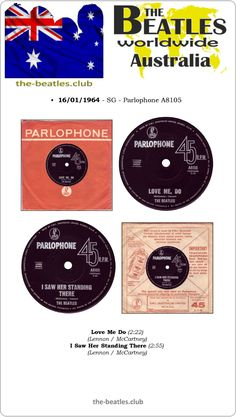 The Beatles Australia Single Parlophone A8105 Love Me Do I Saw Her Standing There Lyrics Vinyl Record Discography