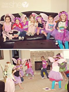 Fairy party games: 1. Musical chairs with flowers; 2. The mother fairy put all of her fairies to sleep with a magic wand. If they moved, they were 'out'. The last sleeping fairy won.