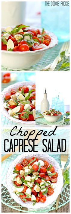 Chopped Caprese Salad is the perfect easy side dish! Tomato, Mozzarella, Basil, and Balsamic Vinegar. Healthy Snacks, Healthy Eating, Healthy Recipes, Salade Caprese, Side Dishes Easy, Cookout Side Dishes, Cold Side Dishes, Barbacoa, Gastronomia