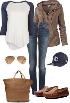 Trendy women outfits 2014..Same outfit minus yankee..cowboy hat instead (same colors)