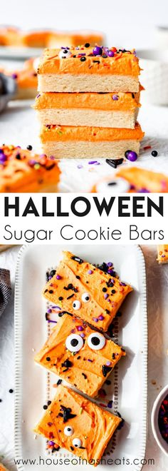 Halloween Sugar Cookies Bars are frighteningly quick and easy with a thick, soft sugar cookie base covered with a sweet creamy frosting. Decorate with spooky sprinkles and slice into bars for a simple Halloween treat that will delight all your little goblins! #cookies #Halloween #bars #sugarcookies #easy #best #homemade #fromscratch #simple #dessert #soft Bakery Recipes, Cookie Recipes, Dessert Recipes, Fun Recipes, Amazing Recipes, Recipies, Sugar Cookie Bars, Soft Sugar Cookies, Yummy Cookies