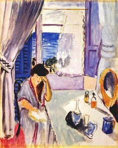 Henri Matisse: Woman reading at a dressing table, interior, Nice