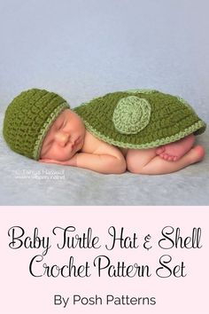 Crochet Pattern - An adorable baby turtle crochet hat and shell pattern set! Includes a cute crochet bow pattern for baby girl turtles. By Posh Patterns.