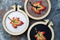 Autumn Leaf Mini Embroidery Hoop Necklace by IttyBittyBunnies on Etsy https://www.etsy.com/listing/251649520/autumn-leaf-mini-embroidery-hoop