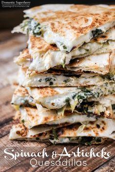 Spinach & Artichoke Quesadillas With Oil, Artichoke Hearts, Baby Spinach Leaves, Cream Cheese, Shredded Mozzarella Cheese, Shredded Parmesan Cheese, Flour Tortillas
